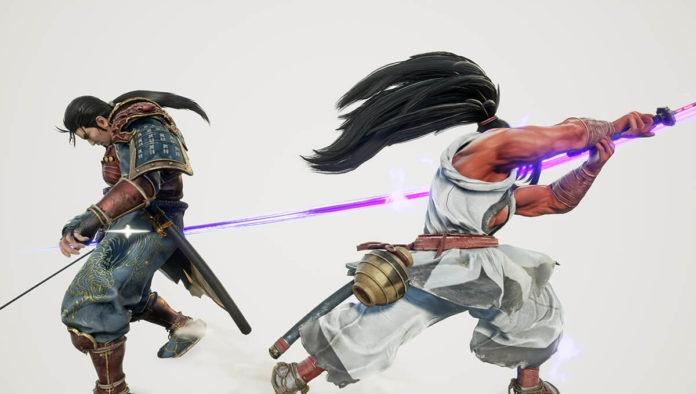 Le personnage Haohmaru de Samurai Shodown donnant un coup de sabre à Mitsurugi de SoulCalibur VI pour illustrer les notes de patch de la maj 2.10