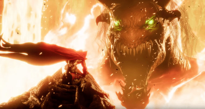 Le personnage additionnel de Mortal Kombat 11 Spawn agenouillé devant un monstre énorme ouvrant grand la gueule