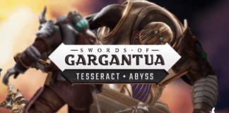 Un chevalier face à un géant armé d'une épée, avec le logo de Swords of Gargantua