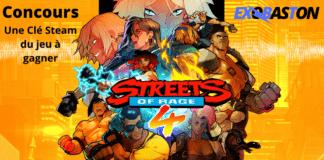 Le logo de Streets of Rage 4 avec la mention concours pour une clé sur steam