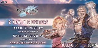 Les deux personnages en DLC de GBVS : Djeeta et Soriz côte à côte à côté de leurs dates de sortie sur PC et PS4
