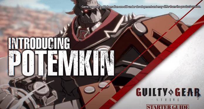 Le personnage de Guity Gear Strive Potemkin dans son tutoriel vidéo
