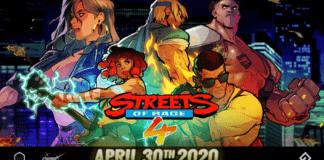 Le logo du jeu Streets of Rage 4 avec la date de sortie du 30 avril 2020 dessous et les différentes plateformes disponibles