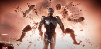 Une fatality de RoboCop dans Mortal Kombat 11: Aftermath ou l'adversaire éclate en morceaux derrière-lui