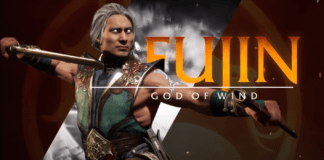 Le personnage en DLC de MK11: Aftermath : Fujin avec le surnom God of Wind mentionné
