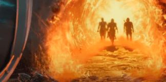 Bande-annonce de Mortal Kombat 11 avec trois silhouettes entourées de feu