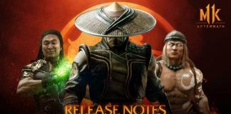 Trois personnages de Mortal Kombat 11: Aftermath sur fond rouge avec Raiden au premier plan