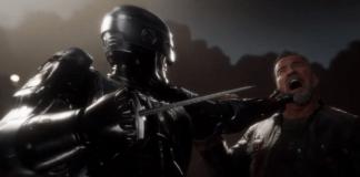 Robocop tient la tête hurlante de Terminator de la main gauche tandis qu'un pic sort de sa main droite prêt à frapper