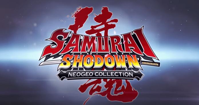 le logo de samurai shodown neogeo collection avec un katana à l'horizontal au centre