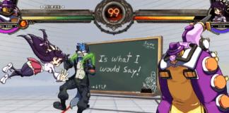 Le niveau Class notes de Skullgirl avec SoniFox en arrière-plan en tant que pnj