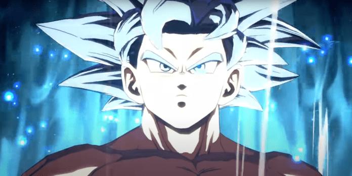 Le visage de Son Goku ultra Instinct sur fond turquoise
