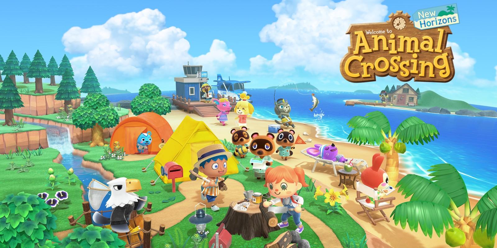 La campagne colorée avec un panneau sur la droite où est inscrit Animal Crossing: New Horizons