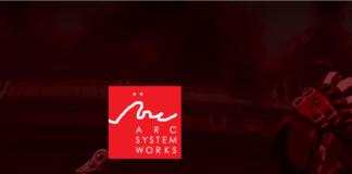 Le logo d'arc system works sur fond rouge avec Sol Badguy sur la droite