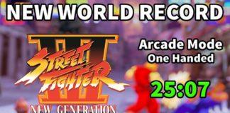 Le logo de Street Fighter III: New Generation avec le temps du record en speedrun de Justin Wong en vert