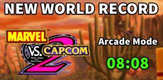 Le logo de Marvel vs. Capcom 2 avec à droite le record du monde de 8:08 et au dessus le titre en anglais « New world record »