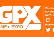 Le logo du NGPX : New Game+ Expo en blanc sur fond orange