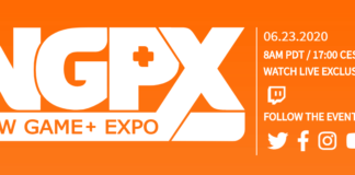 Le logo du NGPX : New Game+ Expo en blanc sur fond orange