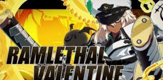 Le personnage de Guilty Gear Strive Ramlethal Valentine sur fond jaune avec son nom écrit en gros