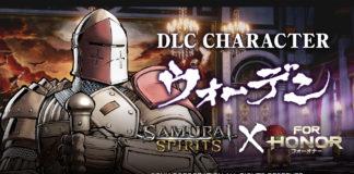 Le chevalier sentinelle de For Honor avec les logo du jeu et de Samurai Shodown
