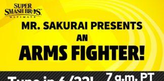 Un message en anglais sur fond jaune annonçant la présentation d'un personnage de ARMS pour Super Smash bros. Ultimate par M. Sakurai