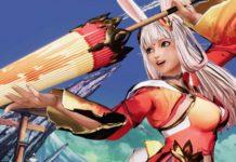 Le personnage en DLC de Samurai Shodown Gongsun Li en provenance du jeu mobile de Tencent Honor of Kings. Elle tient une ombrelle jaune et rouge.
