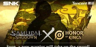 Une silhouette avec les logos de Samurai Shodown et Honor of Kings de chaque côté