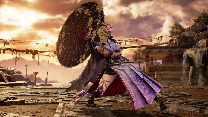 Le personnage de SoulCalibur VI Setsuka qui ouvre son ombrelle à l'occasion de la mise à jour 2.25