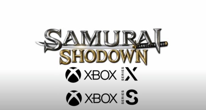 Le logo de Samurai Shodown sur fond blanc avec les logos de la Xbox Series X et Series S
