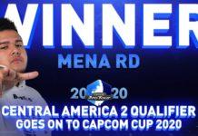 Le joueur de Street Fighter V MenaRD devant le mot Winner à l'occasion du Capcom Pro Tour Online 2020