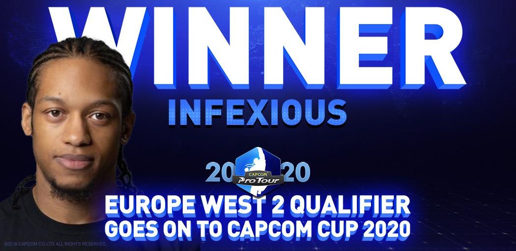 Le portrait du joueur britannique Infexious avec inscrit Winner au dessus à l'occasion du CPTO2020 en Europe de l'Ouest