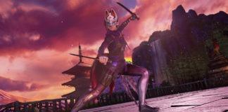 Le personnage en DLC de Tekken 7 Kunimitsu en position d'attaque avec deux katanas devant une pagode asiatique