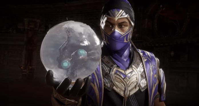 Le personnage Rain de Mortal Kombat 11: Ultimate en train de tenir une boule d'eau dans la main droite contenant deux yeux