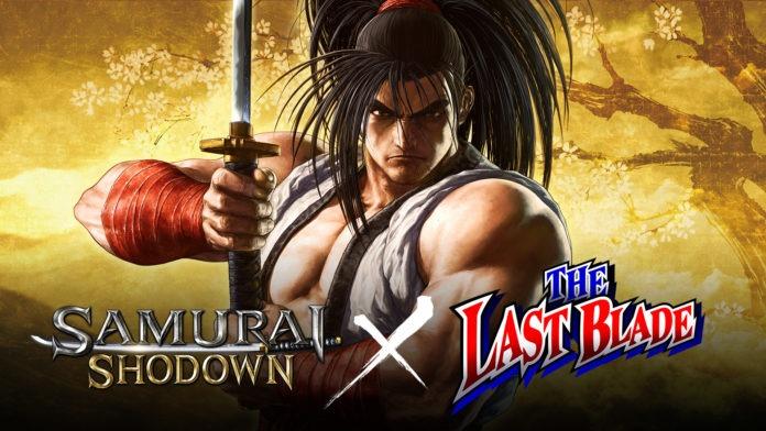 Le personnage Haohmaru pose avec son katana derrière les logos Samurai Shodown et The Last Blade