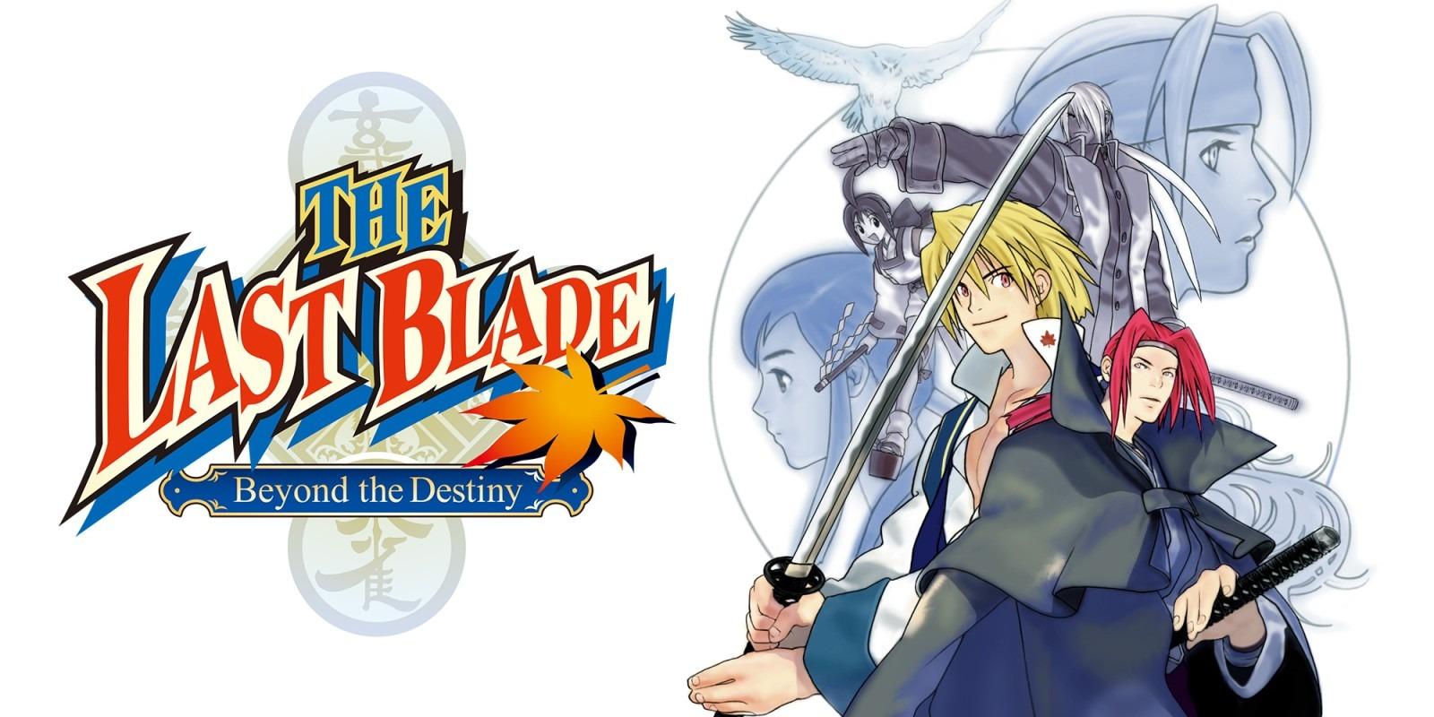 Le logo de The Last Blade: Beyond the Destiny avec les combattants du jeu sur la droite