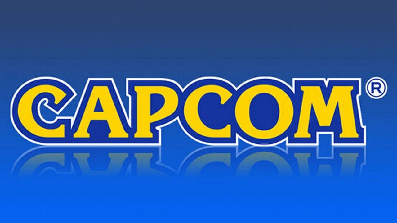 Le logo de l'éditeur japonais de jeux vidéo Capcom sur fond bleu