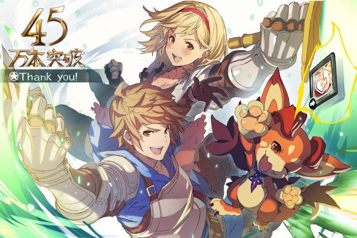 Les personnages de granblue fantasy: versus avec le numéro 45 en haut à gauche