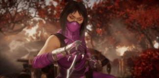 Le personnage de Mortal Kombat 11 Mileena dans une forêt qui tient un saï dans la main droite