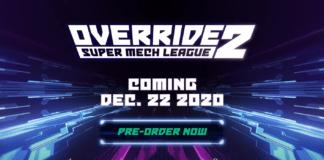 Le logo du jeu Override 2: Super Mech League et sa date de sortie ainsi que les plateformes supportées