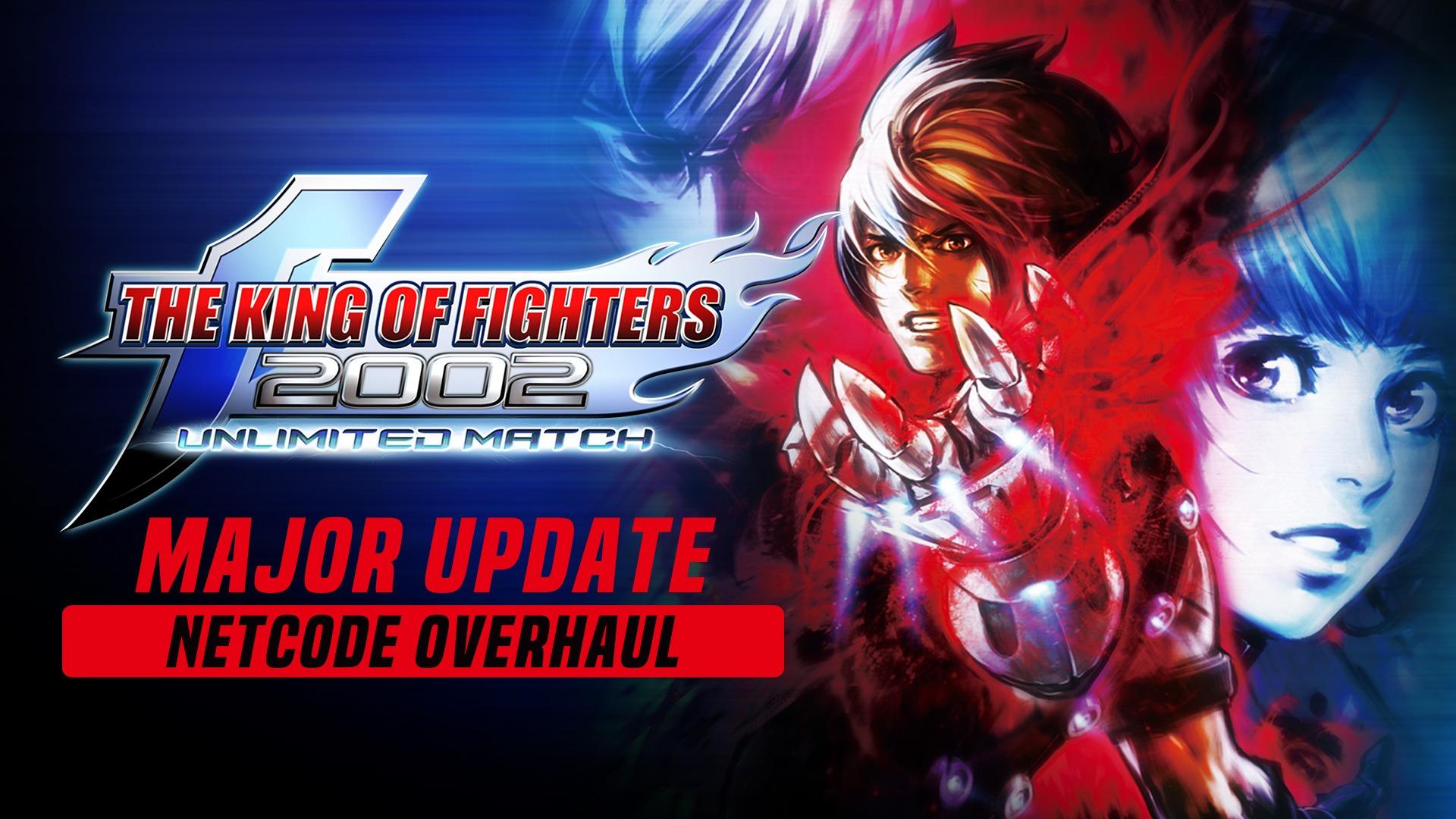 Le logo de the king of fighters 2002 unlimited match avec inscrit Major Update dessous