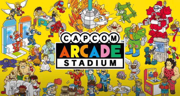 Le logo du jeu Switch Capcom Arcade Stadium avec de nombreux personnages sur fond jaune