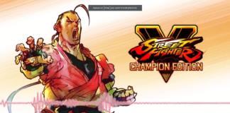 Le personnage en DLC de Street Fighter V Dan Hibiki derrière une ligne audio