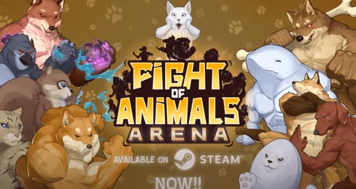 Le logo du jeu Steam Fight of Animals: Arena entouré des personnages