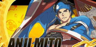Le personnage Anji Mito de Guilty Gear en costume bleu