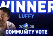Le visage d'Olivier Hay alias Luffy avec les mots Winner et Community vote inscrits