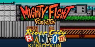 Le logo du jeu indé Mighty Fight Federation avec River City Ransom Kunio-Kun inscrit dessous