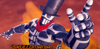 Le personnage de Fighting Ex Layer Skullomania portant le chapeau de G de Street Fighter V et pointant l'index de la main gauche en l'air
