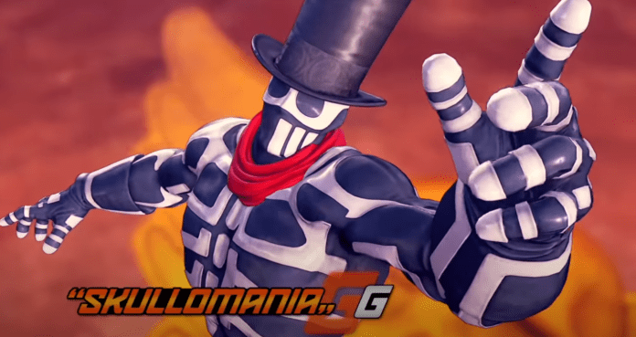Le personnage de Fighting Ex Layer Skullomania portant le chapeau de G de Street Fighter V et pointant l'index de la main gauche en l'air