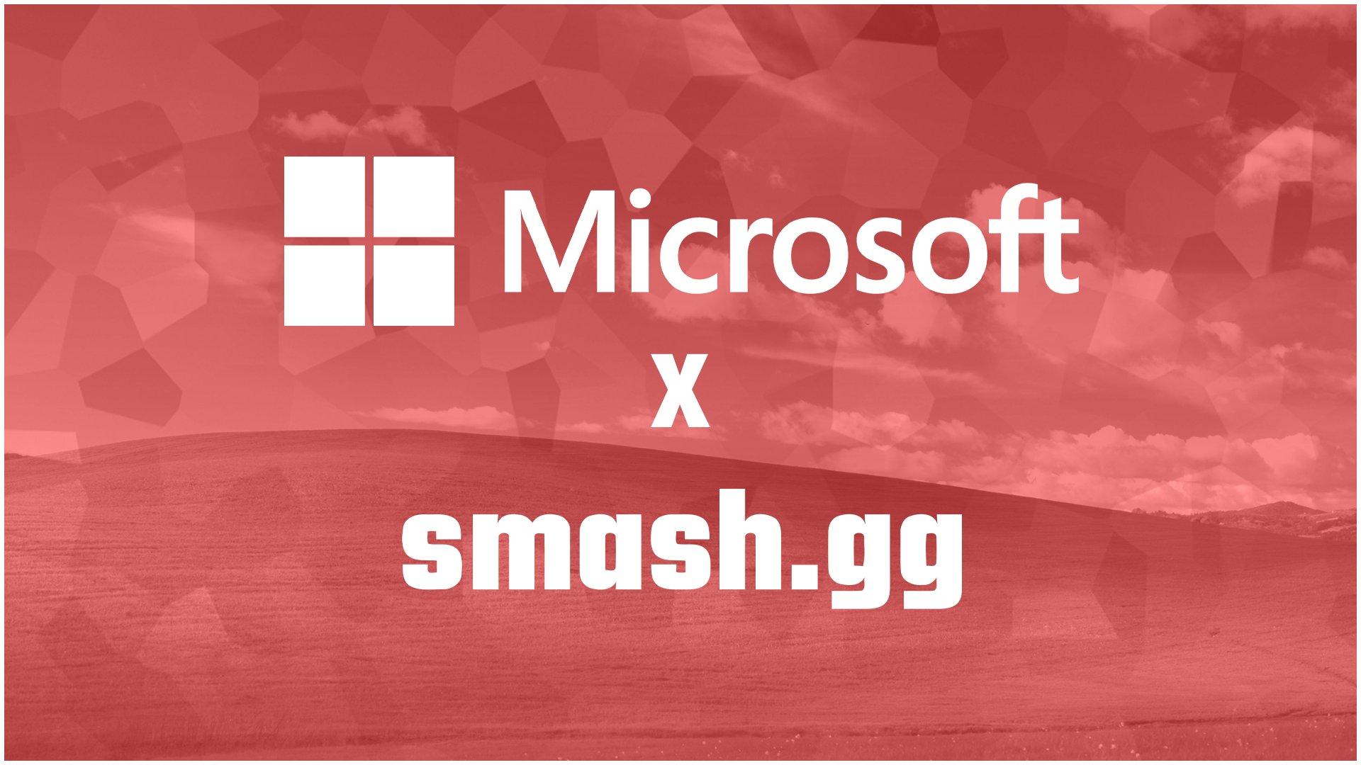 Les logos Microsoft et smash.gg sur fond rouge