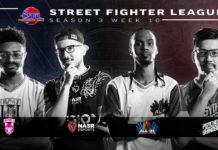 Quatre joueurs de la saison 3 de la Street Fighter League en noir et blanc