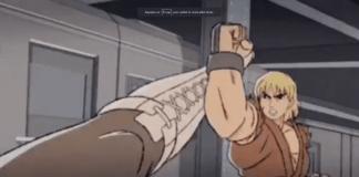 Ken de Street Fighter qui pare un coup de pied de Chun-Li dans un clip d'animation du Moment 37 de l'EVO
